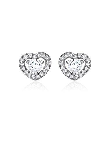 Tophills Diamond Co. 0,65 Ct Pırlanta Efekt Altın Fall İn Love Küpe Renkli
